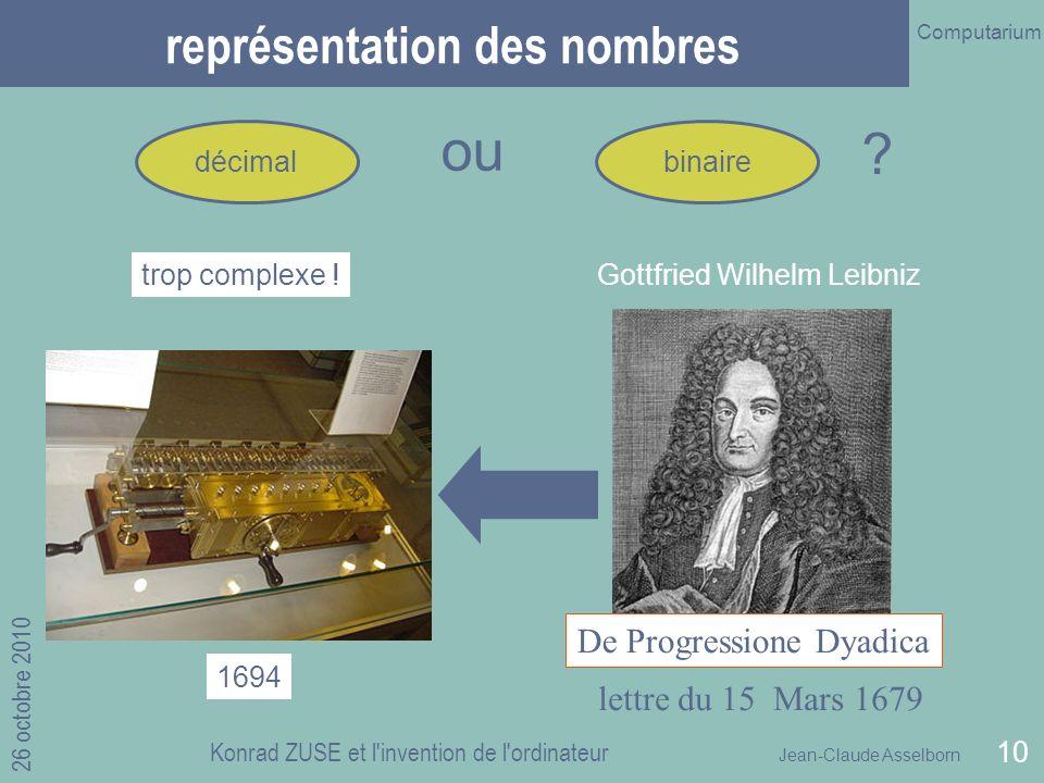 Jean-Claude Asselborn Computarium 26 octobre 2010 Konrad ZUSE et l invention de l ordinateur 10 Gottfried Wilhelm Leibniz représentation des nombres décimal lettre du 15 Mars 1679 De Progressione Dyadica trop complexe .