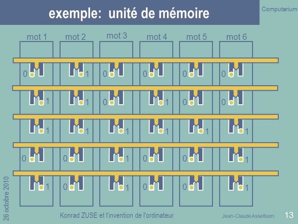 Jean-Claude Asselborn Computarium 26 octobre 2010 Konrad ZUSE et l invention de l ordinateur 13 exemple: unité de mémoire 1 1 1 0 0 1 1 1 1 1 1 1 1 1 0 1 1 1 0 0 0 0 0 0 0 0 0 0 0 0 mot 1mot 2 mot 3 mot 4mot 5mot 6