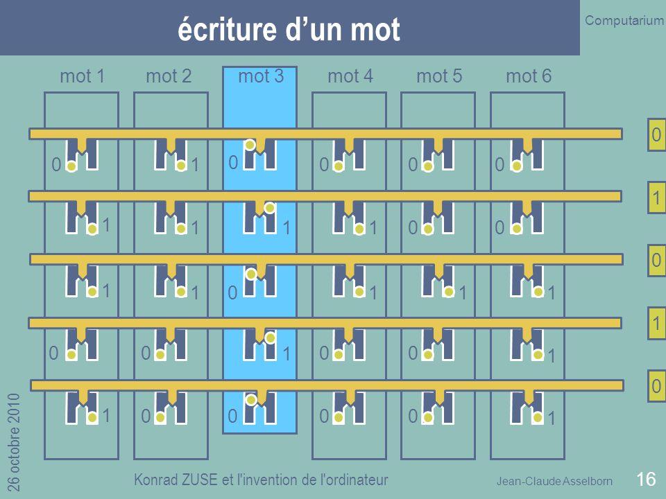 Jean-Claude Asselborn Computarium 26 octobre 2010 Konrad ZUSE et l invention de l ordinateur 16 écriture dun mot 1 1 1 0 0 1 1 1 1 1 1 0 1 1 1 0 0 0 0 0 0 0 0 0 0 mot 1mot 2mot 3mot 4mot 5mot 6 0 1 0 1 0 0 1 1 0 0