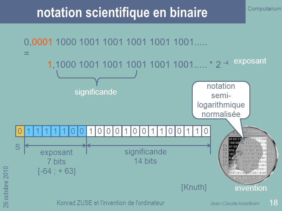 Jean-Claude Asselborn Computarium 26 octobre 2010 Konrad ZUSE et l invention de l ordinateur 18 notation scientifique en binaire 0,0001 1000 1001 1001 1001 1001 1001.....