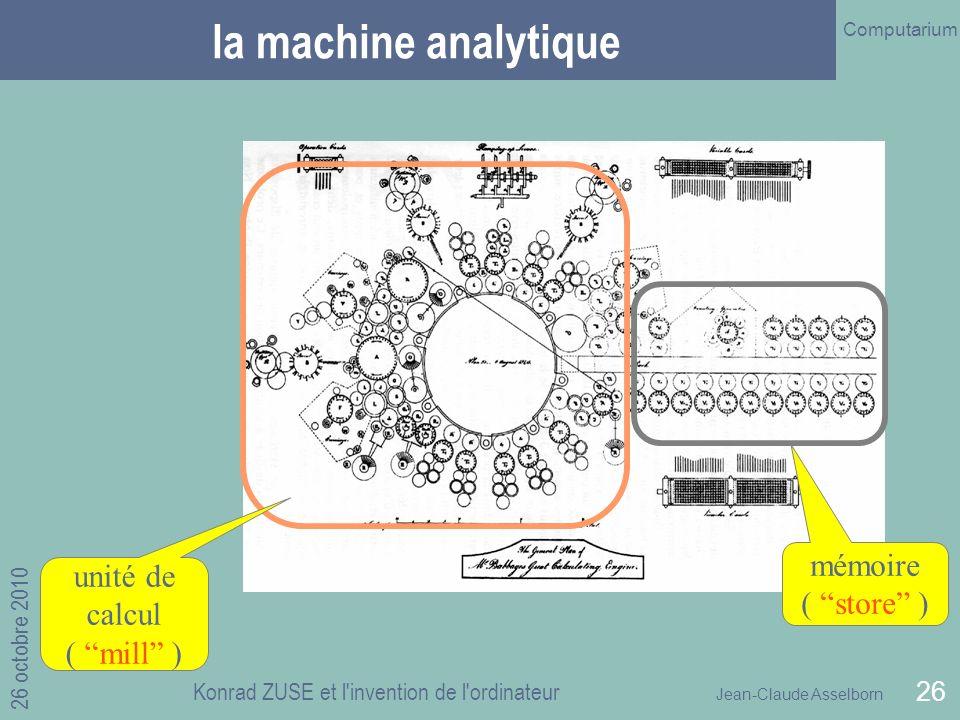 Jean-Claude Asselborn Computarium 26 octobre 2010 Konrad ZUSE et l invention de l ordinateur 26 la machine analytique mémoire ( store ) unité de calcul ( mill )