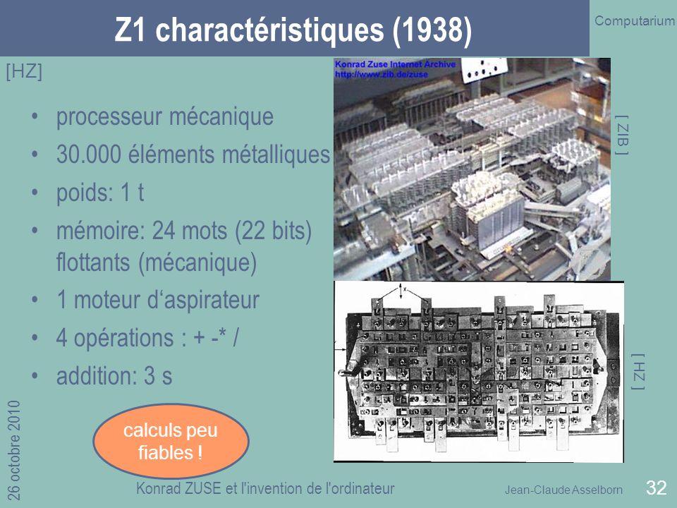 Jean-Claude Asselborn Computarium 26 octobre 2010 Konrad ZUSE et l invention de l ordinateur 32 Z1 charactéristiques (1938) processeur mécanique 30.000 éléments métalliques poids: 1 t mémoire: 24 mots (22 bits) flottants (mécanique) 1 moteur daspirateur 4 opérations : + -* / addition: 3 s [HZ] [ ZIB ] [ HZ ] calculs peu fiables !