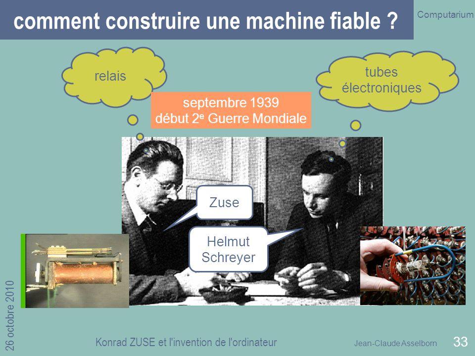Jean-Claude Asselborn Computarium 26 octobre 2010 Konrad ZUSE et l invention de l ordinateur 33 Zuse Helmut Schreyer comment construire une machine fiable .