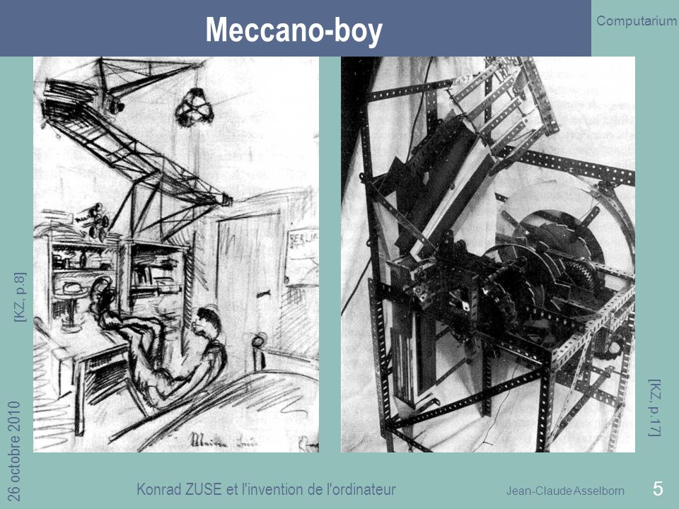 Jean-Claude Asselborn Computarium 26 octobre 2010 Konrad ZUSE et l invention de l ordinateur 5 Meccano-boy [KZ, p.8] [KZ, p.17]