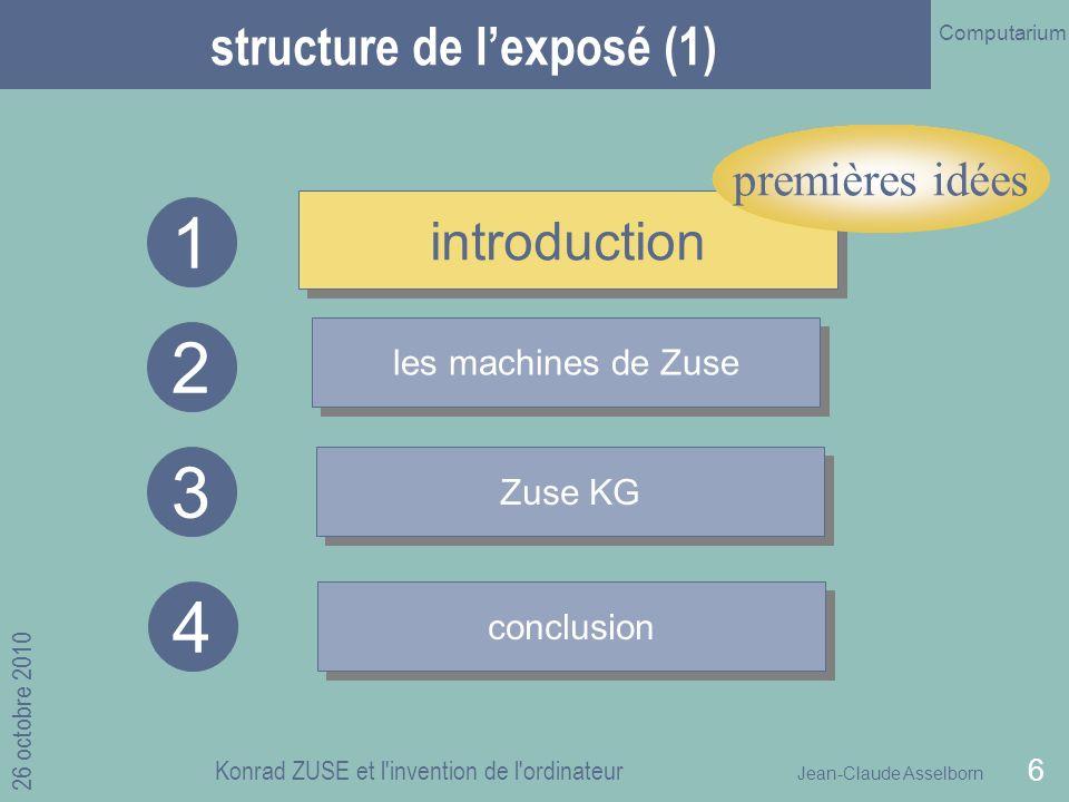 Jean-Claude Asselborn Computarium 26 octobre 2010 Konrad ZUSE et l invention de l ordinateur 6 structure de lexposé (1) introduction les machines de Zuse Zuse KG 1 2 3 conclusion 4 introduction premières idées