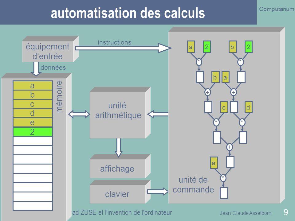 Jean-Claude Asselborn Computarium 26 octobre 2010 Konrad ZUSE et l invention de l ordinateur 30 structure de lexposé (2) introduction les machines de Zuse Zuse KG 1 2 3 conclusion 4 les machines de Zuse 1936 - 1945
