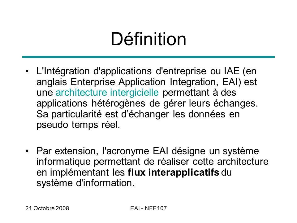 21 Octobre 2008EAI - NFE107 Définition L'Intégration d'applications d'entreprise ou IAE (en anglais Enterprise Application Integration, EAI) est une a