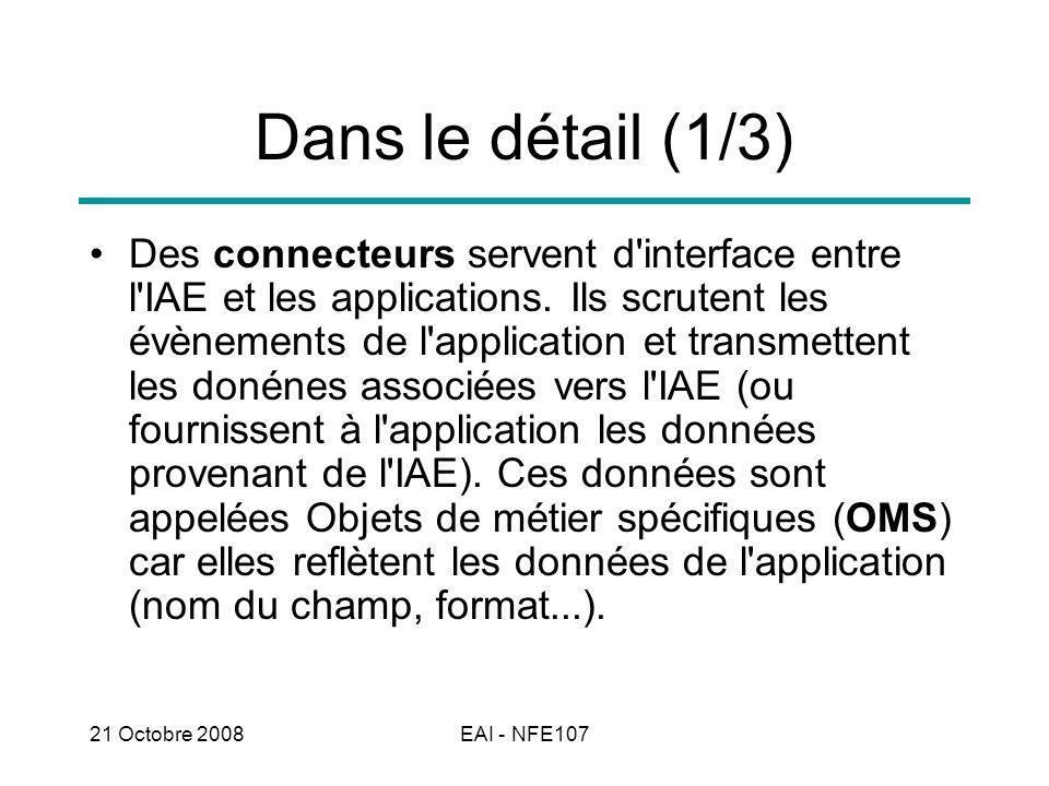 21 Octobre 2008EAI - NFE107 Dans le détail (2/3) Les OMS en provenance des (ou dirigés vers les) connecteurs passent par une opération de mise en correspondance ou mappage (mapping) pour transformer les données spécifiques aux applications (OMS) en données standards à l IAE : les OM (Objets de métier).