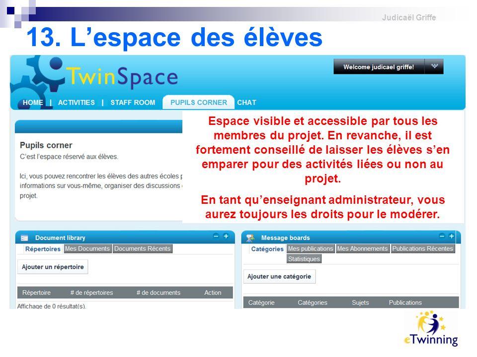 Judicaël Griffe 13.Lespace des élèves Espace visible et accessible par tous les membres du projet.