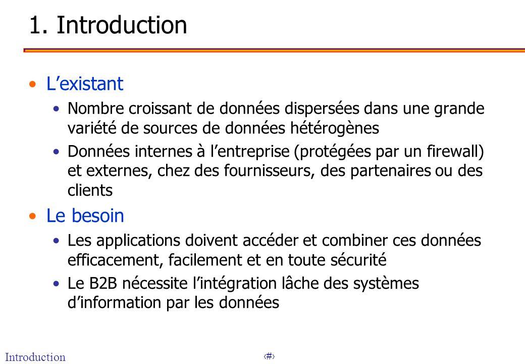 2 1. Introduction Lexistant Nombre croissant de données dispersées dans une grande variété de sources de données hétérogènes Données internes à lentre