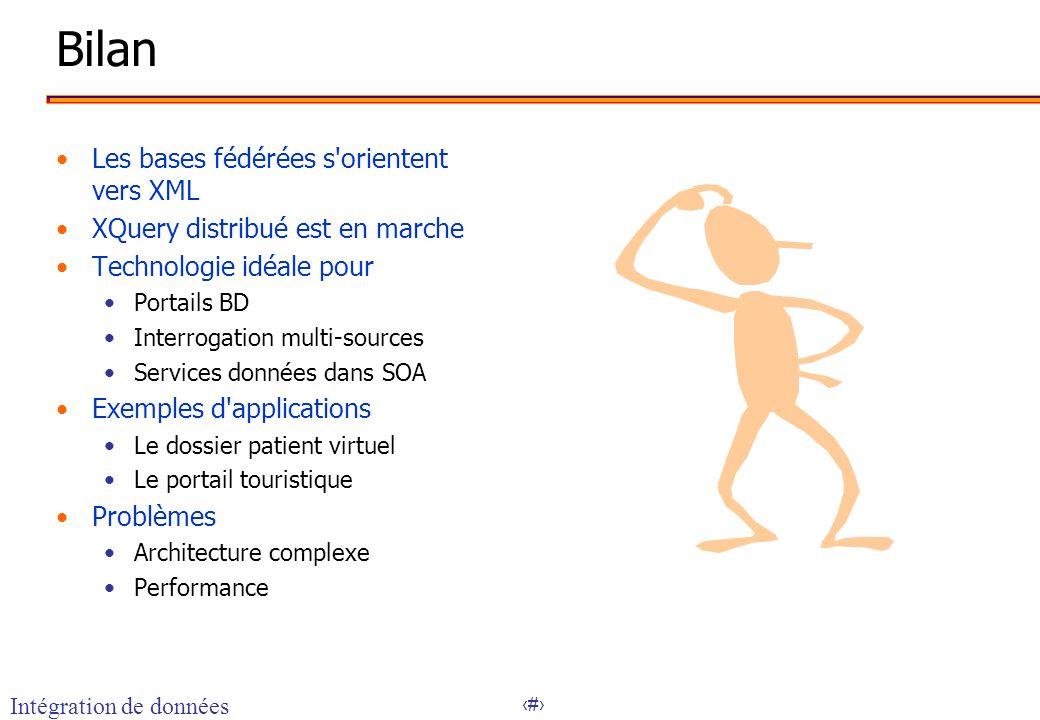 20 Bilan Les bases fédérées s'orientent vers XML XQuery distribué est en marche Technologie idéale pour Portails BD Interrogation multi-sources Servic