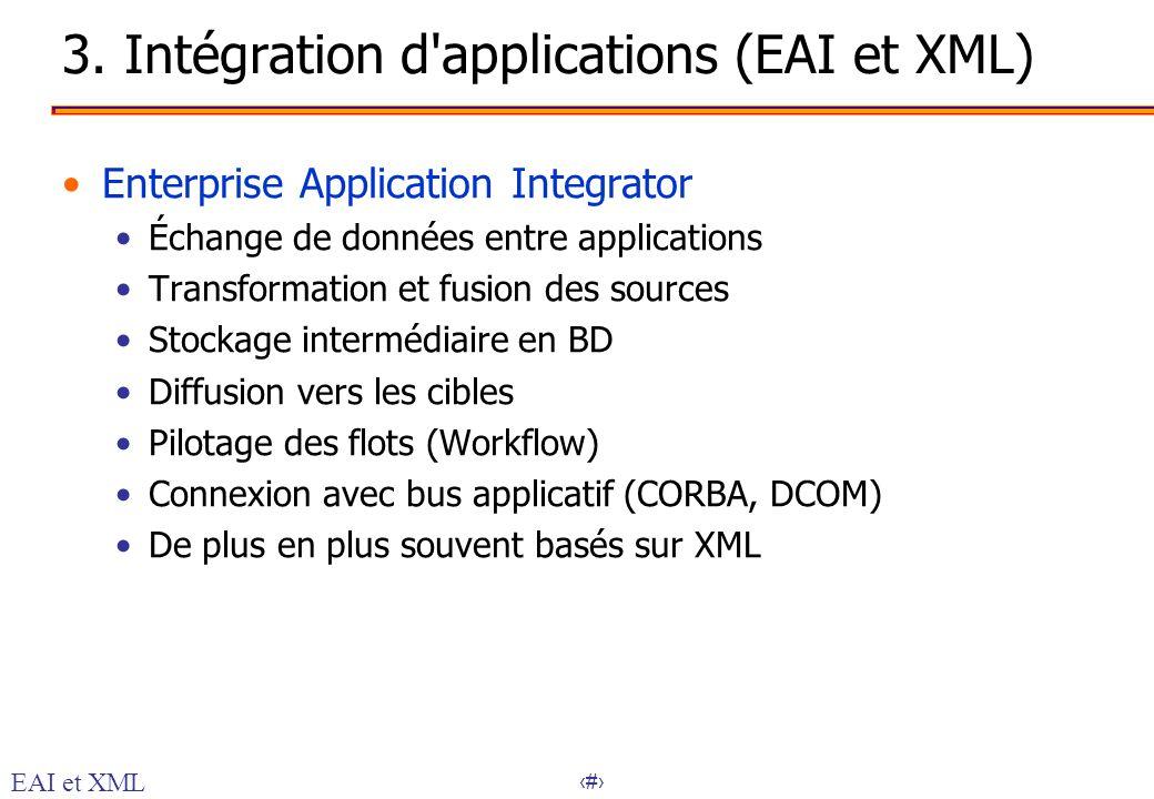 21 3. Intégration d'applications (EAI et XML) Enterprise Application Integrator Échange de données entre applications Transformation et fusion des sou