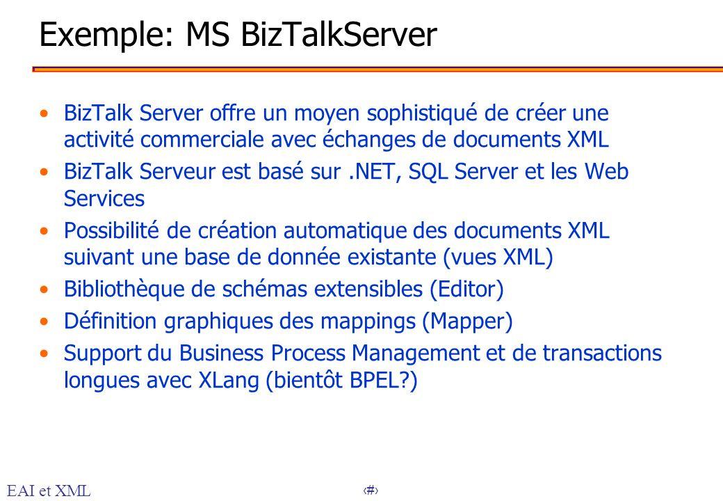 30 Exemple: MS BizTalkServer BizTalk Server offre un moyen sophistiqué de créer une activité commerciale avec échanges de documents XML BizTalk Serveu