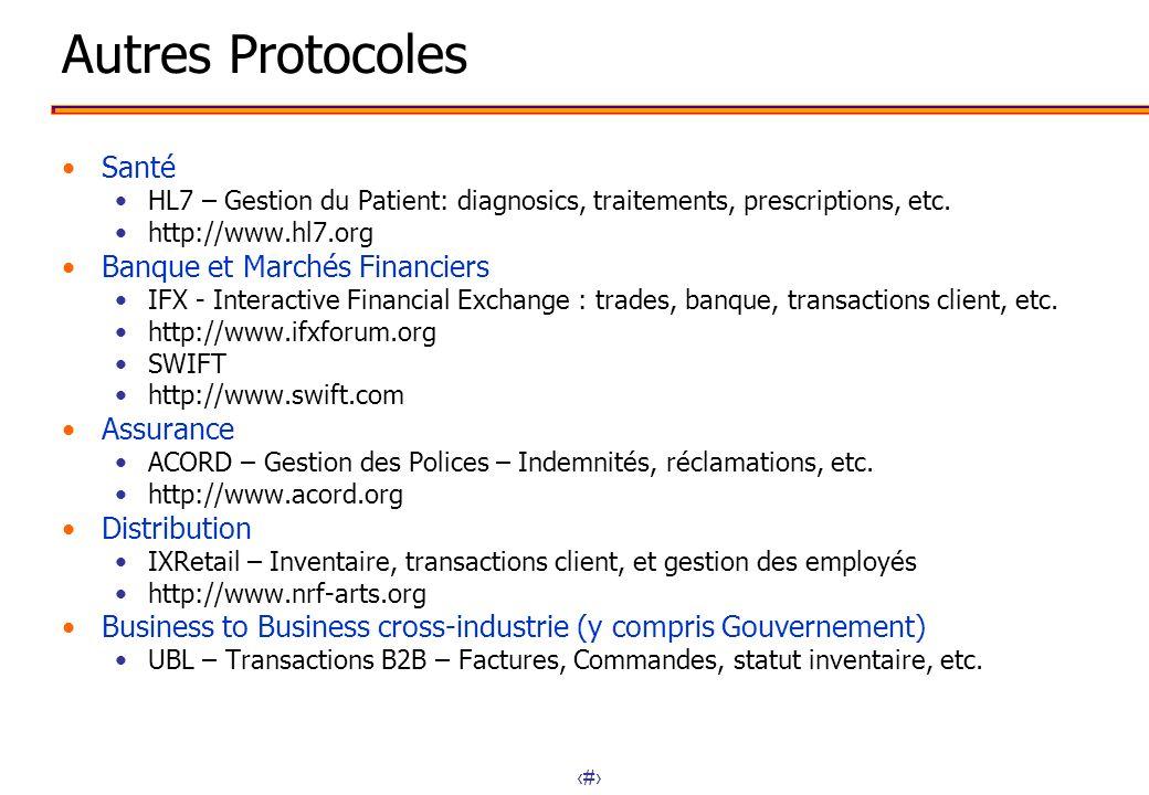 51 Autres Protocoles Santé HL7 – Gestion du Patient: diagnosics, traitements, prescriptions, etc. http://www.hl7.org Banque et Marchés Financiers IFX