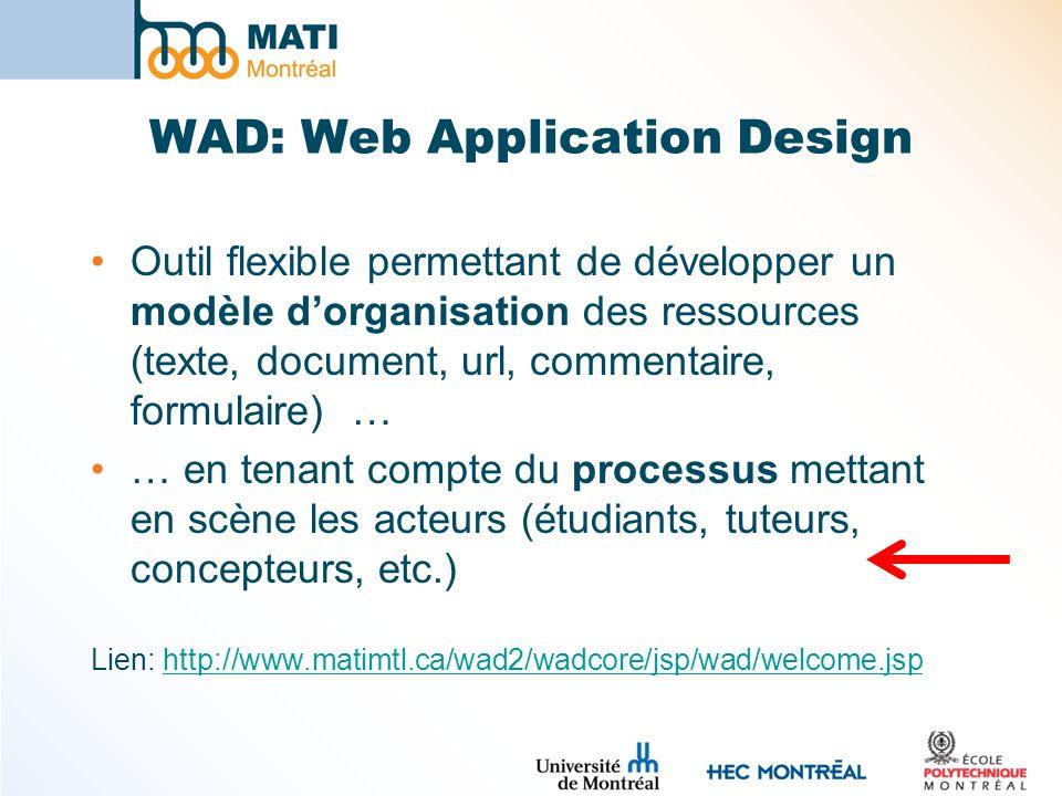 WAD: Web Application Design Outil flexible permettant de développer un modèle dorganisation des ressources (texte, document, url, commentaire, formula