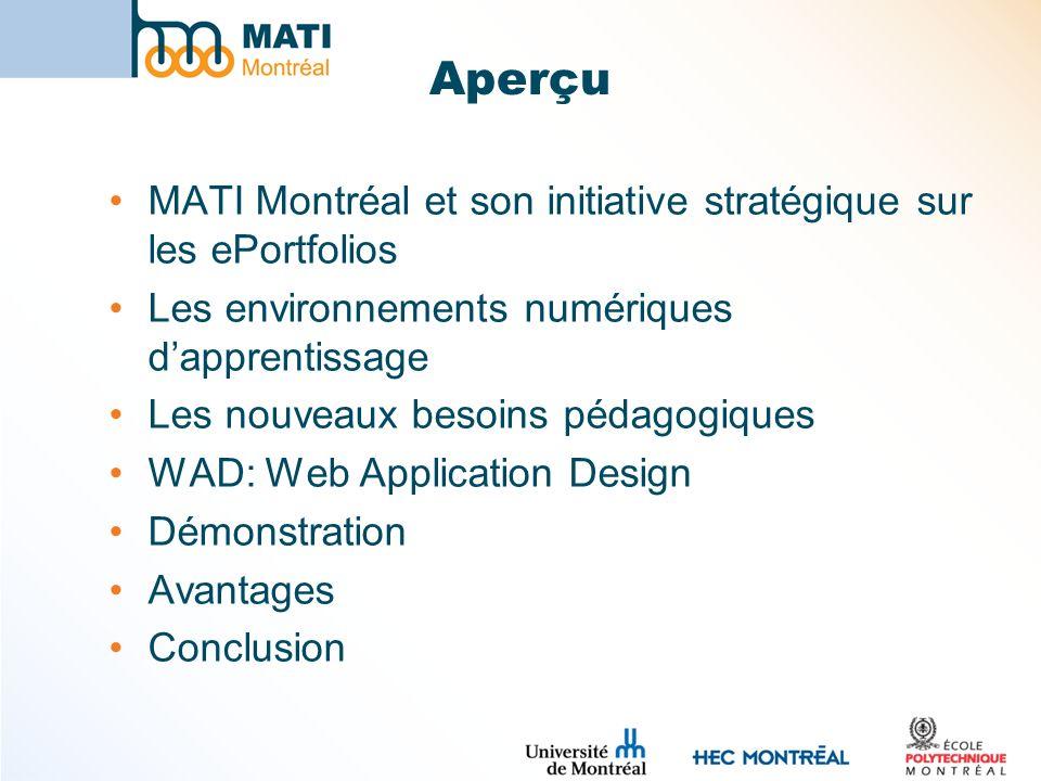 Aperçu MATI Montréal et son initiative stratégique sur les ePortfolios Les environnements numériques dapprentissage Les nouveaux besoins pédagogiques