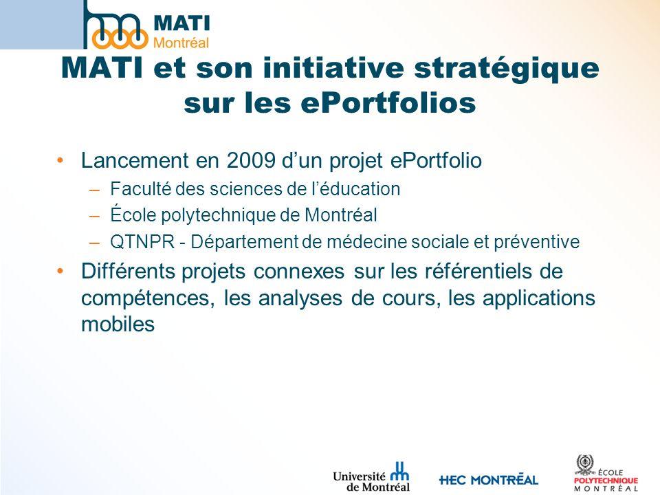 MATI et son initiative stratégique sur les ePortfolios Lancement en 2009 dun projet ePortfolio –Faculté des sciences de léducation –École polytechniqu