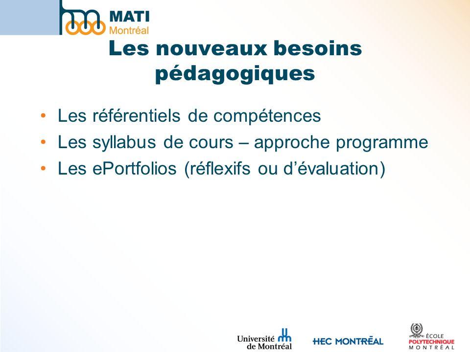 Les nouveaux besoins pédagogiques Les référentiels de compétences Les syllabus de cours – approche programme Les ePortfolios (réflexifs ou dévaluation