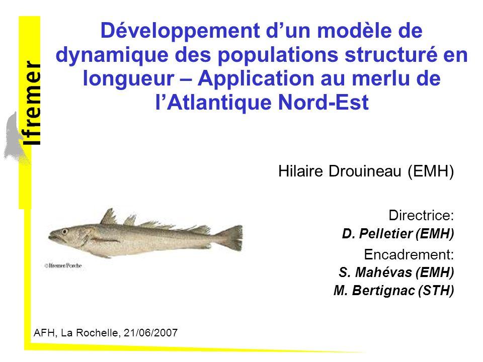 Développement dun modèle de dynamique des populations structuré en longueur – Application au merlu de lAtlantique Nord-Est Hilaire Drouineau (EMH) Directrice: D.