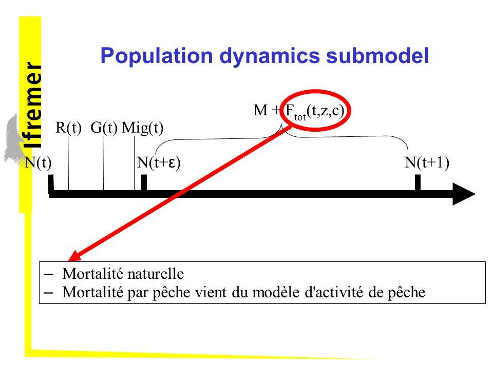Population dynamics submodel N(t) – Mortalité naturelle – Mortalité par pêche vient du modèle d'activité de pêche R(t)G(t)Mig(t) N(t+ ε ) N(t+1) M + F