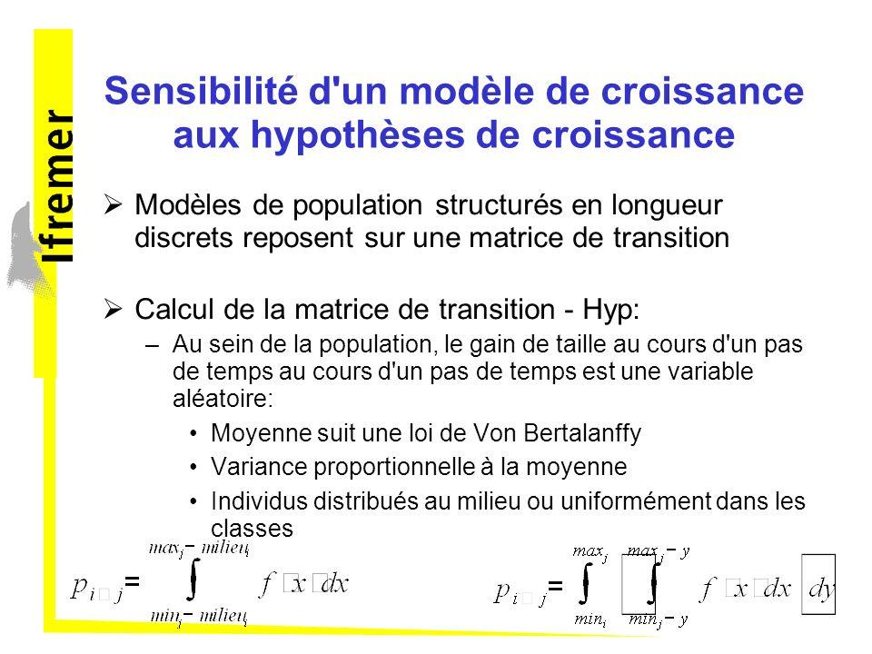 Sensibilité d un modèle de croissance aux hypothèses de croissance Modèles de population structurés en longueur discrets reposent sur une matrice de transition Calcul de la matrice de transition - Hyp: –Au sein de la population, le gain de taille au cours d un pas de temps au cours d un pas de temps est une variable aléatoire: Moyenne suit une loi de Von Bertalanffy Variance proportionnelle à la moyenne Individus distribués au milieu ou uniformément dans les classes