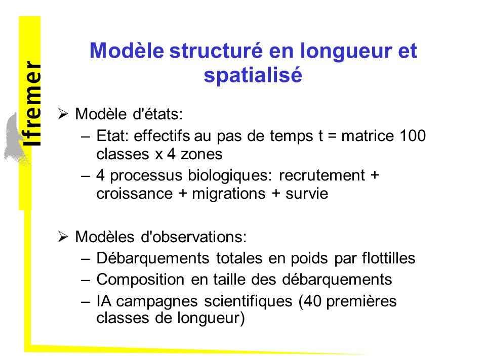 Modèle structuré en longueur et spatialisé Modèle d'états: –Etat: effectifs au pas de temps t = matrice 100 classes x 4 zones –4 processus biologiques
