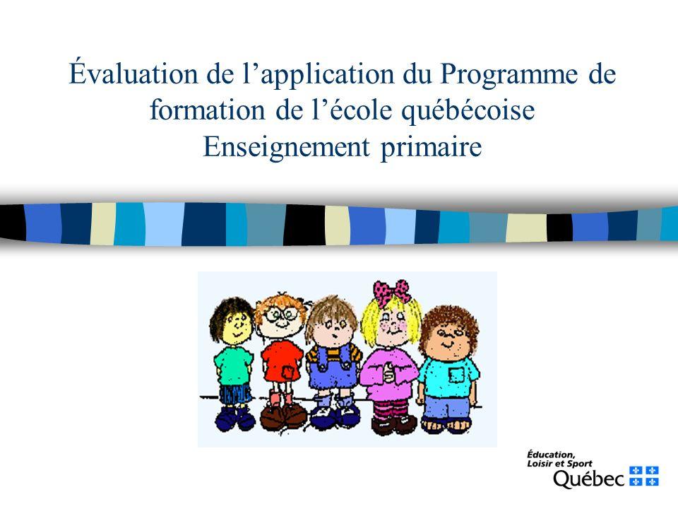 Évaluation de lapplication du Programme de formation de lécole québécoise Enseignement primaire Rapport préliminaire de la Table de pilotage du renouveau pédagogique Août 2006 DRSI - Service de la recherche, MELS