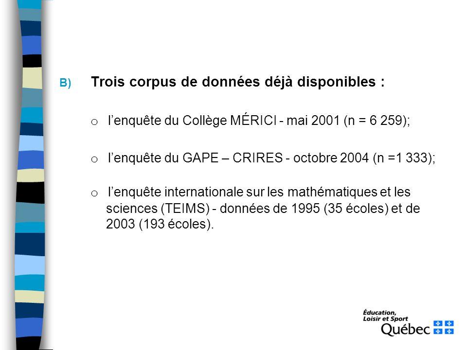 B) Trois corpus de données déjà disponibles : o lenquête du Collège MÉRICI - mai 2001 (n = 6 259); o lenquête du GAPE – CRIRES - octobre 2004 (n =1 333); o lenquête internationale sur les mathématiques et les sciences (TEIMS) - données de 1995 (35 écoles) et de 2003 (193 écoles).