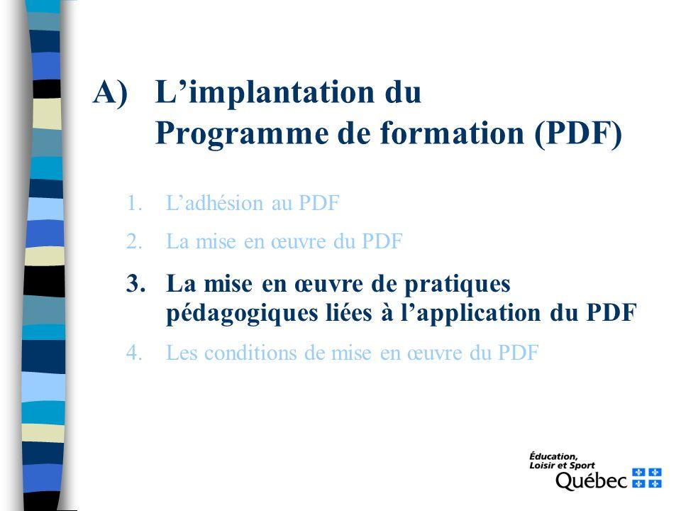A)Limplantation du Programme de formation (PDF) 1.Ladhésion au PDF 2.La mise en œuvre du PDF 3.La mise en œuvre de pratiques pédagogiques liées à lapplication du PDF 4.Les conditions de mise en œuvre du PDF