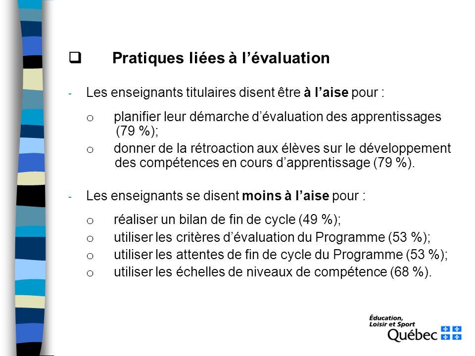 Pratiques liées à lévaluation - Les enseignants titulaires disent être à laise pour : o planifier leur démarche dévaluation des apprentissages (79 %);