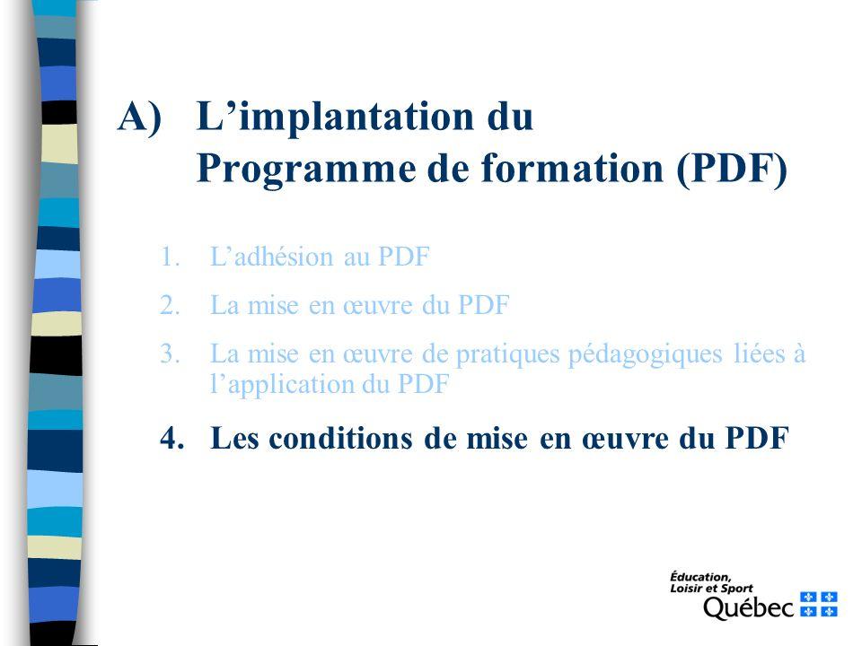 A)Limplantation du Programme de formation (PDF) 1.Ladhésion au PDF 2.La mise en œuvre du PDF 3.La mise en œuvre de pratiques pédagogiques liées à lapp