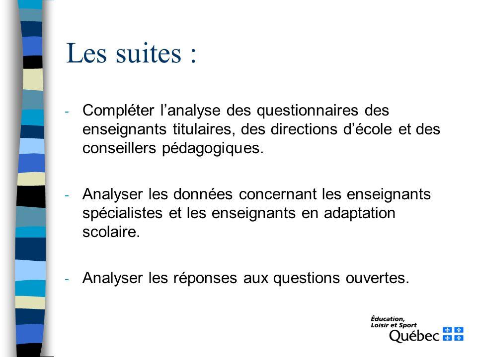 - Compléter lanalyse des questionnaires des enseignants titulaires, des directions décole et des conseillers pédagogiques. - Analyser les données conc