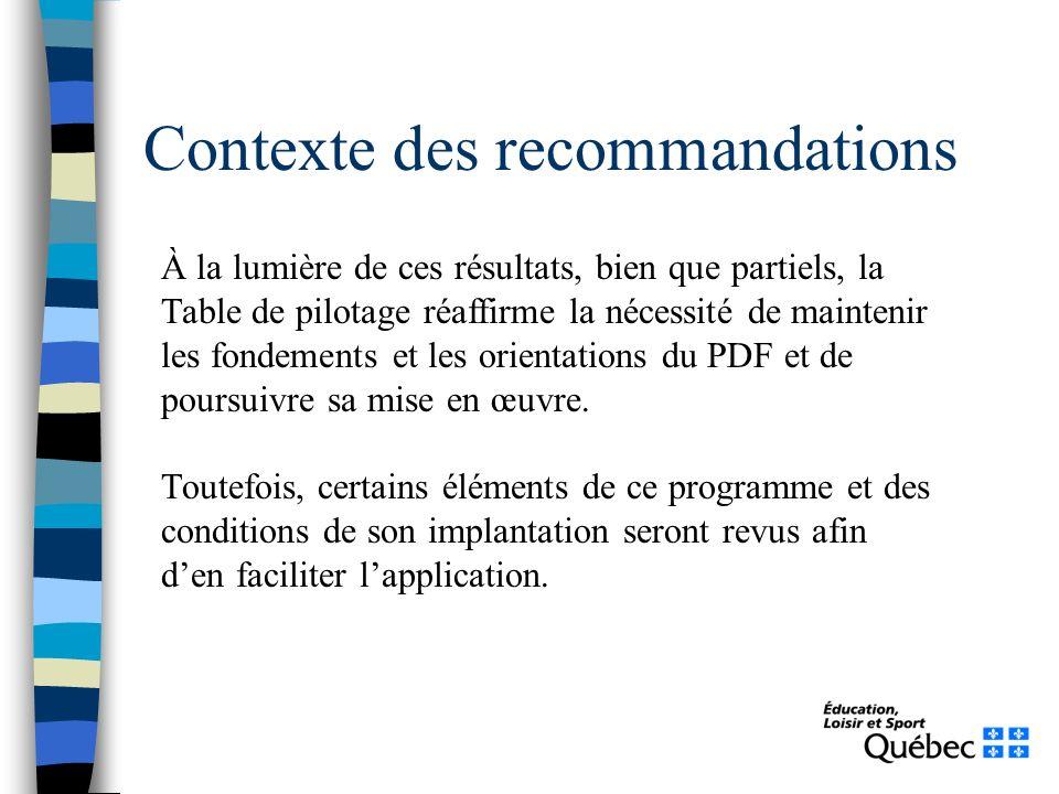 Contexte des recommandations À la lumière de ces résultats, bien que partiels, la Table de pilotage réaffirme la nécessité de maintenir les fondements et les orientations du PDF et de poursuivre sa mise en œuvre.