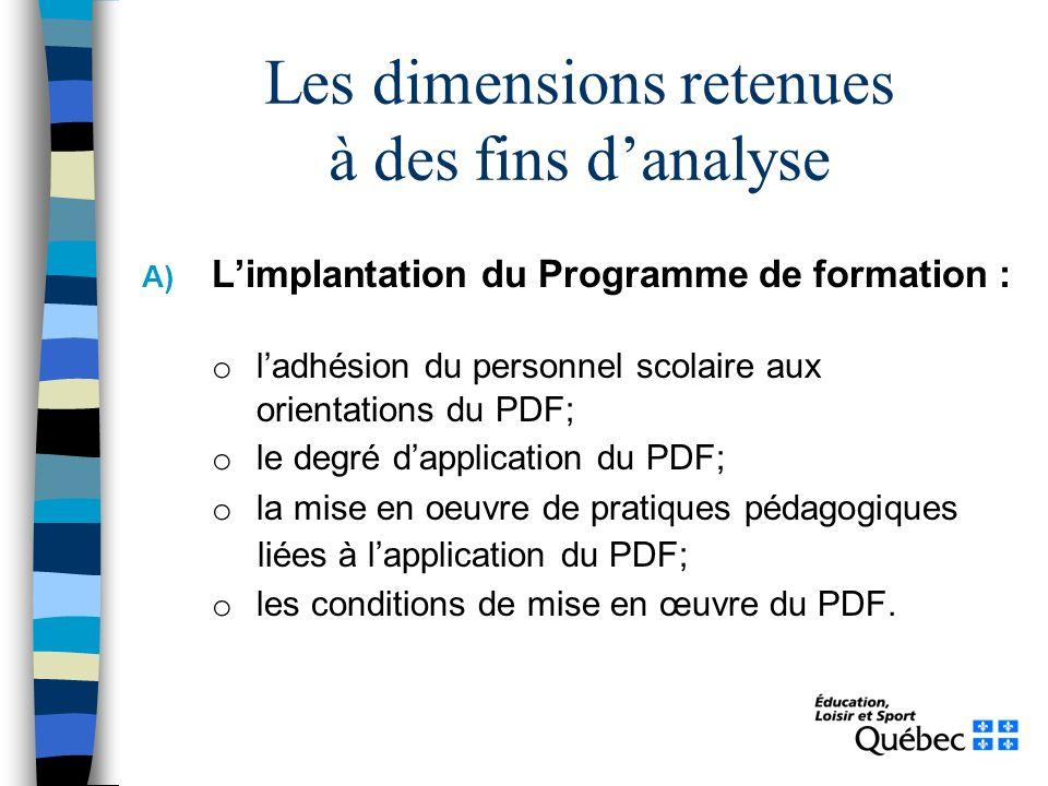Les dimensions retenues à des fins danalyse A) Limplantation du Programme de formation : o ladhésion du personnel scolaire aux orientations du PDF; o