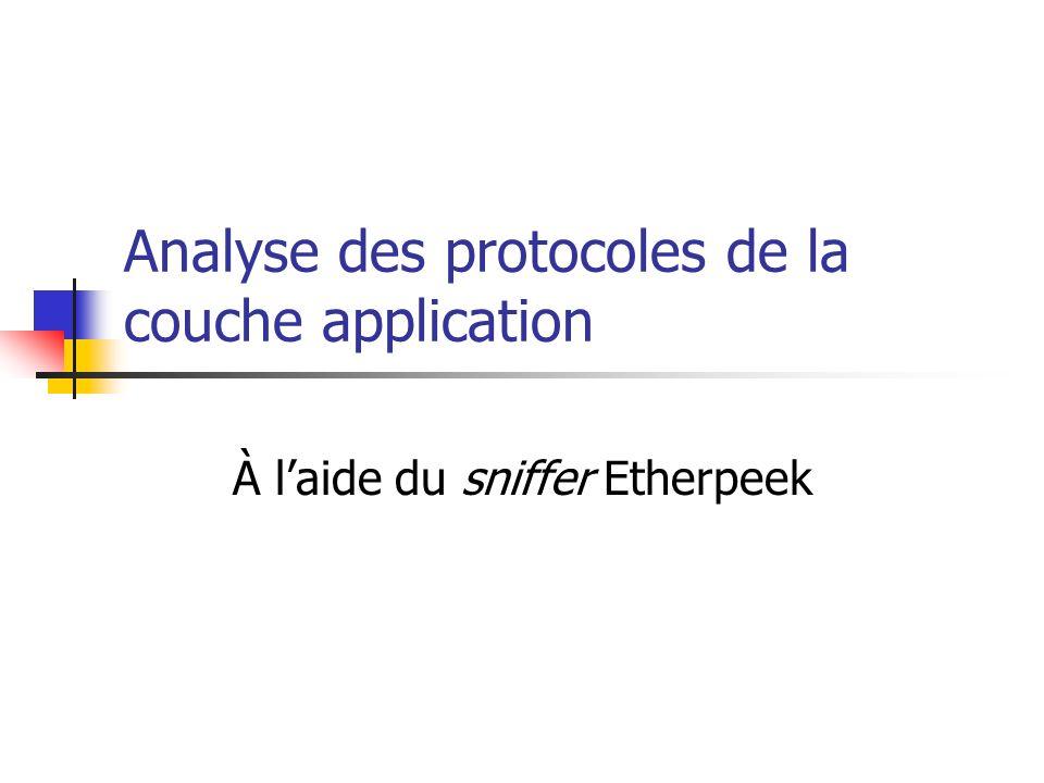 Analyse des protocoles de la couche application À laide du sniffer Etherpeek