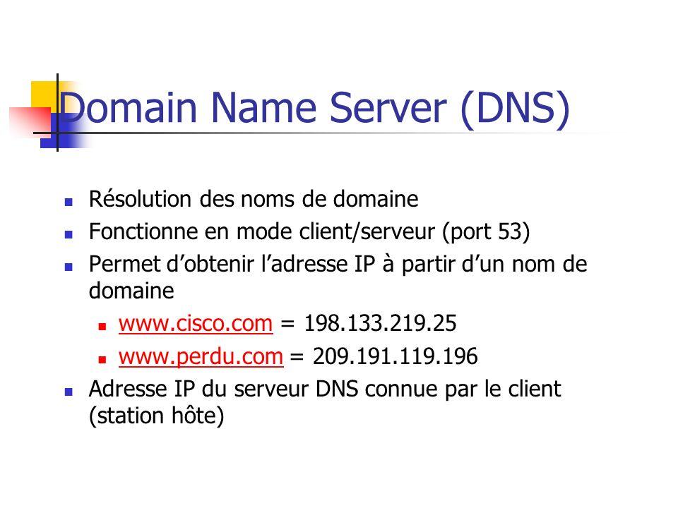 Domain Name Server (DNS) Résolution des noms de domaine Fonctionne en mode client/serveur (port 53) Permet dobtenir ladresse IP à partir dun nom de do