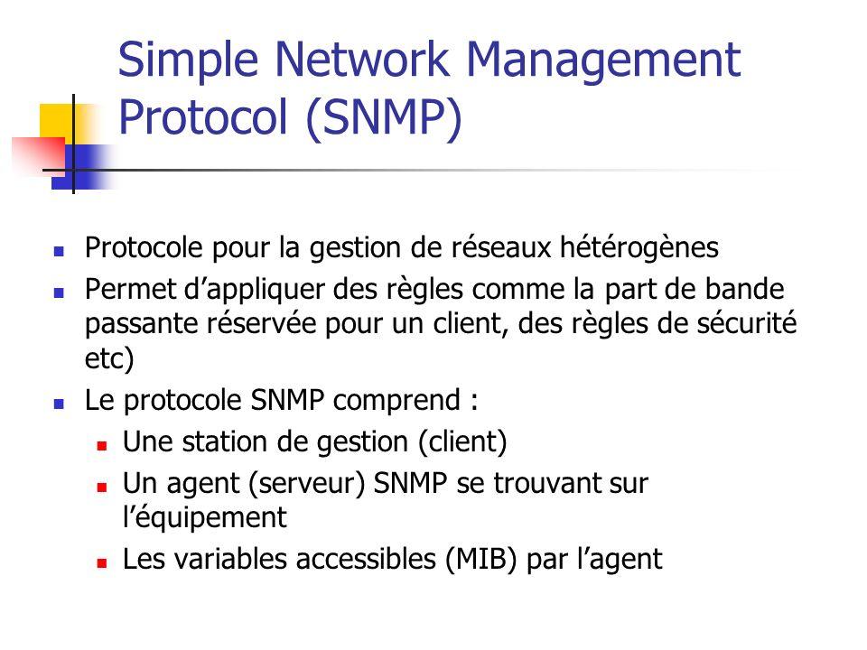 Simple Network Management Protocol (SNMP) Protocole pour la gestion de réseaux hétérogènes Permet dappliquer des règles comme la part de bande passant