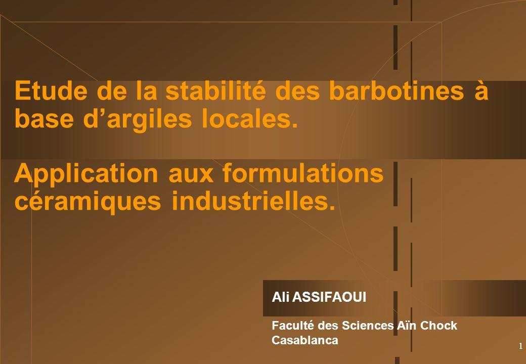 1 Ali ASSIFAOUI Faculté des Sciences Aïn Chock Casablanca Etude de la stabilité des barbotines à base dargiles locales.