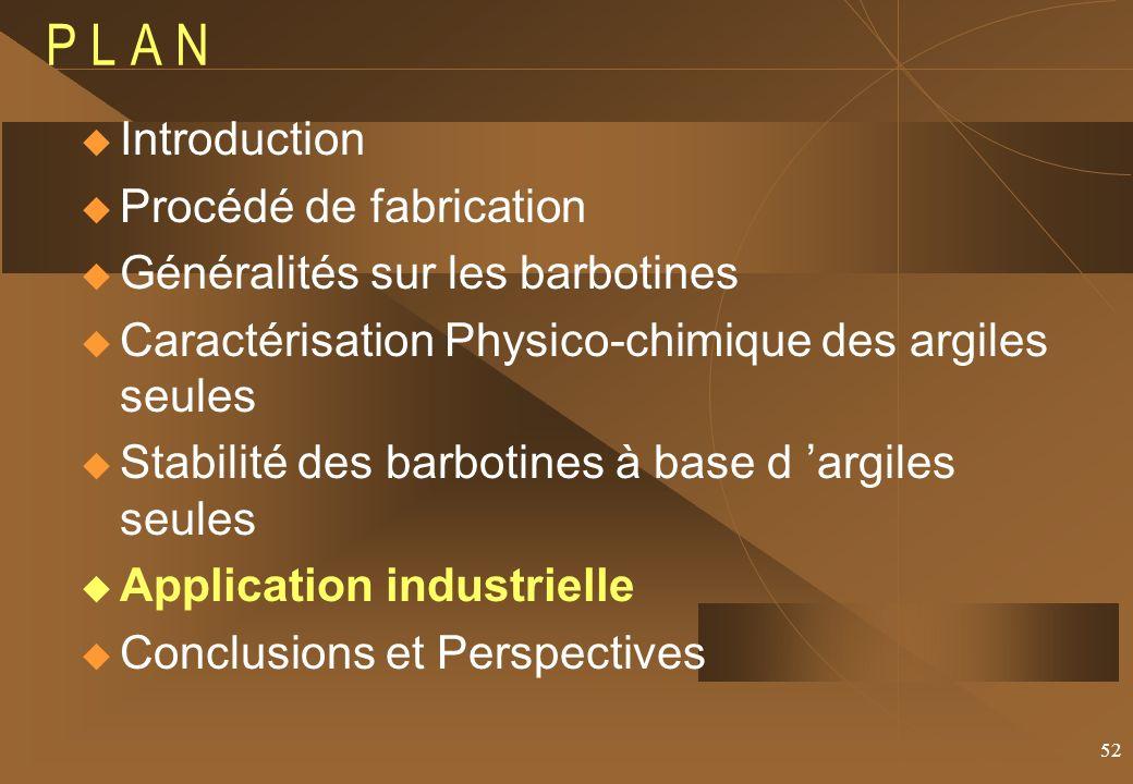 52 P L A N Introduction Procédé de fabrication Généralités sur les barbotines Caractérisation Physico-chimique des argiles seules Stabilité des barbotines à base d argiles seules Application industrielle Conclusions et Perspectives
