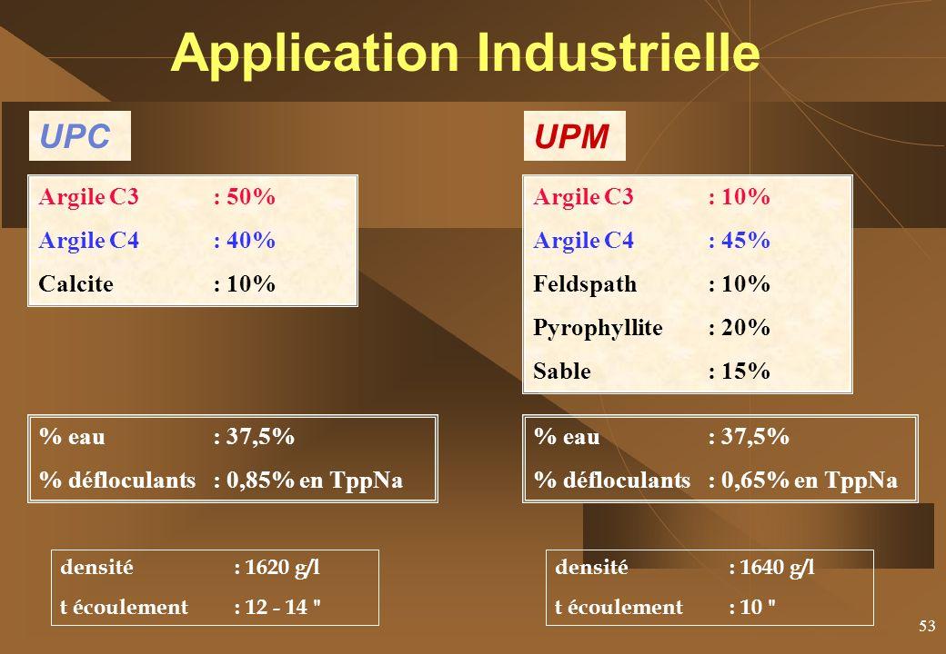 53 UPC Argile C3 : 50% Argile C4: 40% Calcite : 10% UPM Argile C3 : 10% Argile C4: 45% Feldspath: 10% Pyrophyllite: 20% Sable: 15% densité : 1620 g/l t écoulement: 12 - 14 densité : 1640 g/l t écoulement: 10 % eau : 37,5% % défloculants: 0,85% en TppNa % eau : 37,5% % défloculants: 0,65% en TppNa Application Industrielle