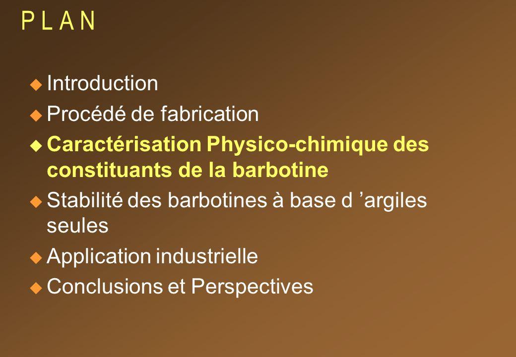 P L A N Introduction Procédé de fabrication Caractérisation Physico-chimique des constituants de la barbotine Stabilité des barbotines à base d argiles seules Application industrielle Conclusions et Perspectives
