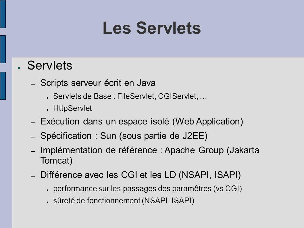 Les Servlets Servlets – Scripts serveur écrit en Java Servlets de Base : FileServlet, CGIServlet, … HttpServlet – Exécution dans un espace isolé (Web Application) – Spécification : Sun (sous partie de J2EE) – Implémentation de référence : Apache Group (Jakarta Tomcat) – Différence avec les CGI et les LD (NSAPI, ISAPI) performance sur les passages des paramêtres (vs CGI) sûreté de fonctionnement (NSAPI, ISAPI)
