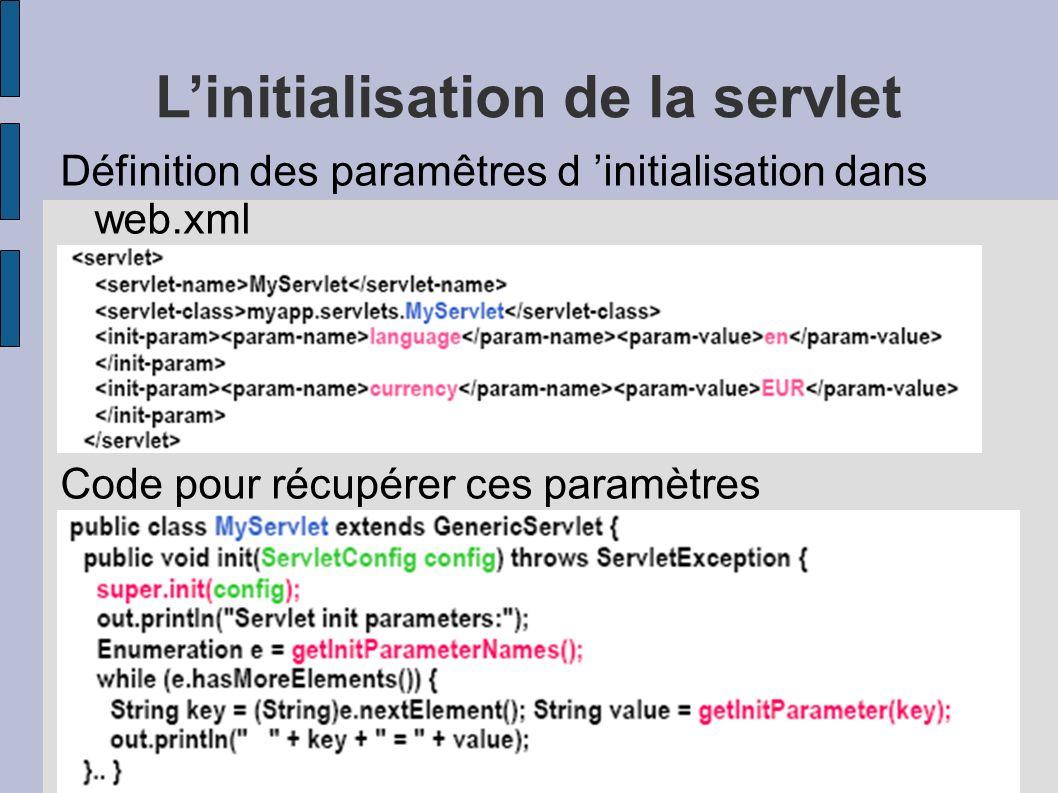 Linitialisation de la servlet Définition des paramêtres d initialisation dans web.xml Code pour récupérer ces paramètres