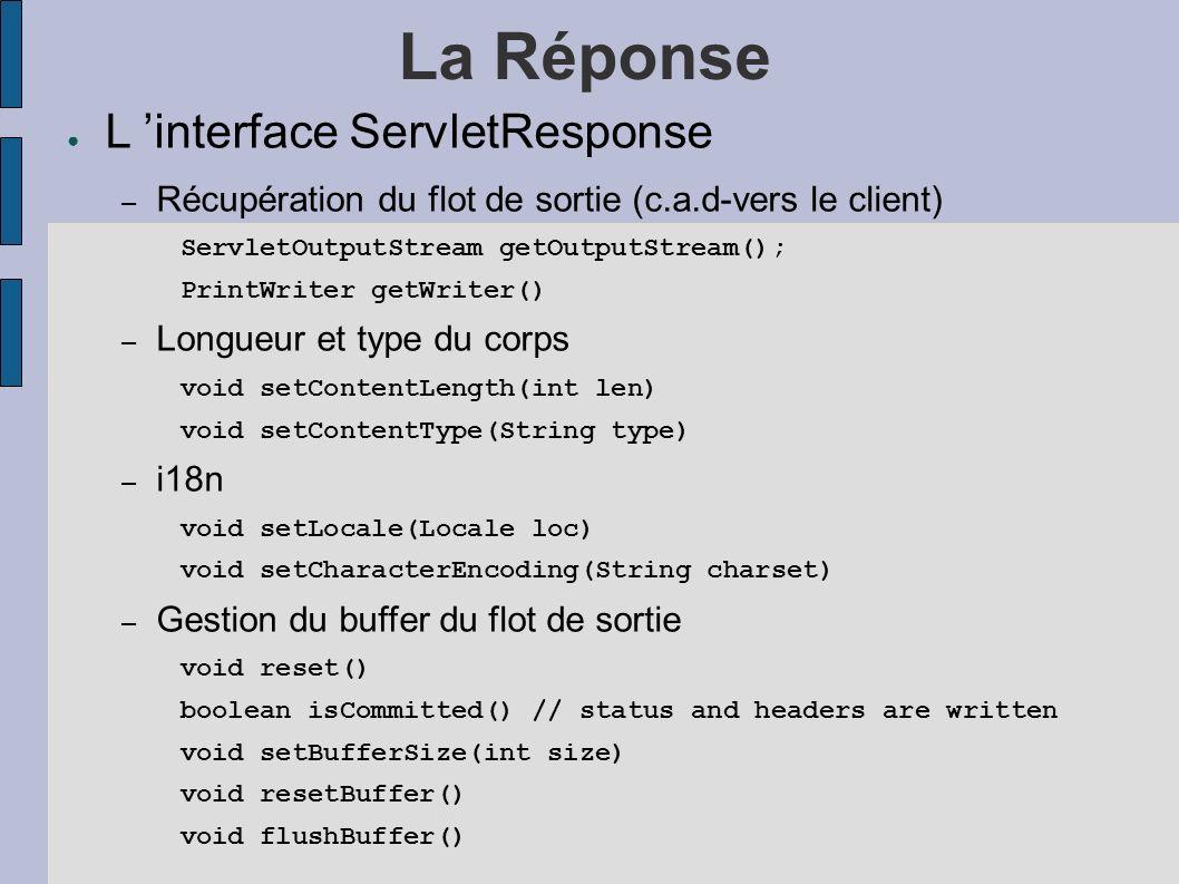 La Réponse L interface ServletResponse – Récupération du flot de sortie (c.a.d-vers le client) ServletOutputStream getOutputStream(); PrintWriter getWriter() – Longueur et type du corps void setContentLength(int len) void setContentType(String type) – i18n void setLocale(Locale loc) void setCharacterEncoding(String charset) – Gestion du buffer du flot de sortie void reset() boolean isCommitted() // status and headers are written void setBufferSize(int size) void resetBuffer() void flushBuffer()