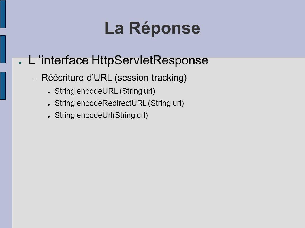La Réponse L interface HttpServletResponse – Réécriture dURL (session tracking) String encodeURL (String url) String encodeRedirectURL (String url) String encodeUrl(String url)