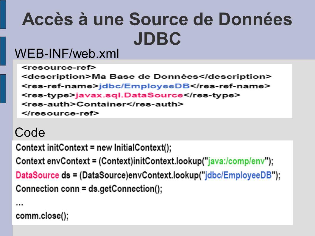 Accès à une Source de Données JDBC WEB-INF/web.xml Code