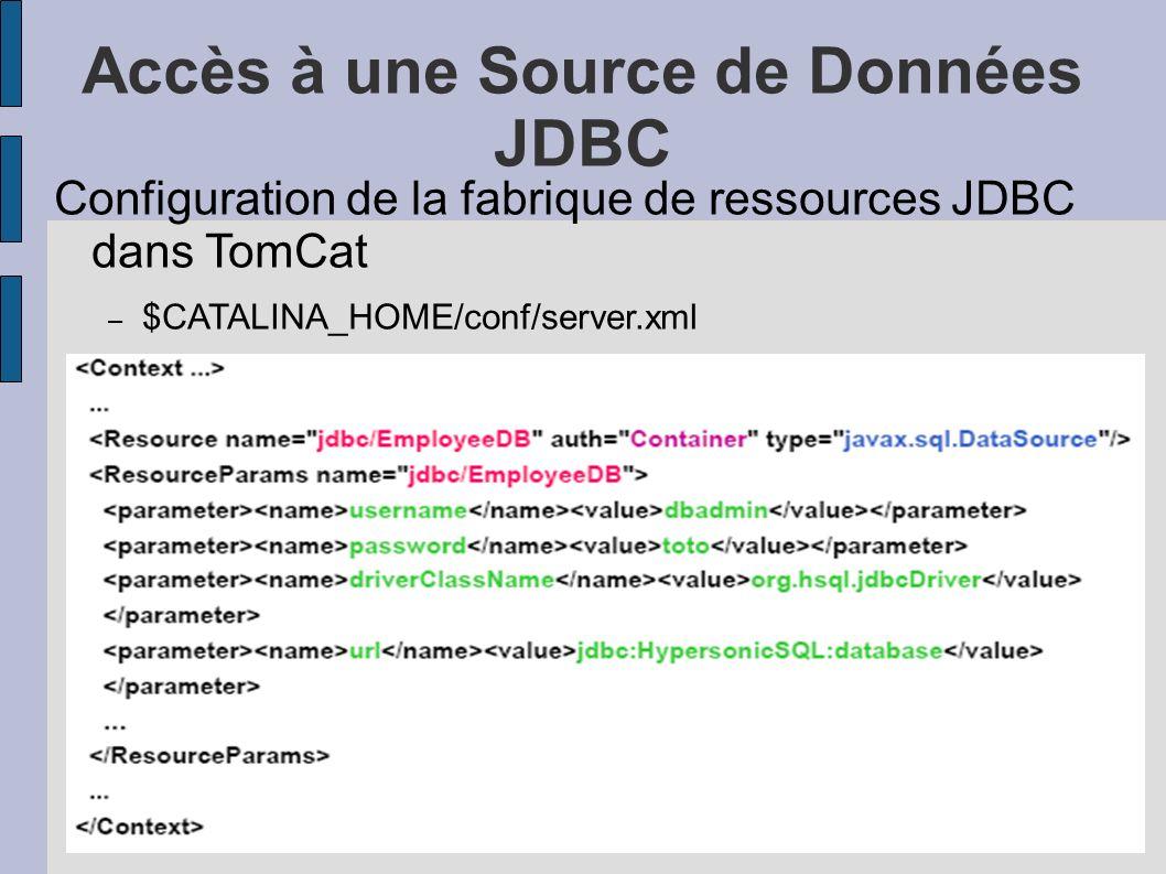 Accès à une Source de Données JDBC Configuration de la fabrique de ressources JDBC dans TomCat – $CATALINA_HOME/conf/server.xml