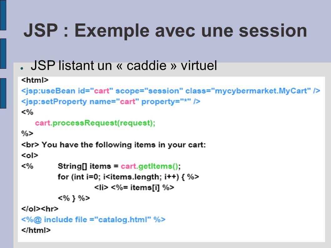 JSP : Exemple avec une session JSP listant un « caddie » virtuel