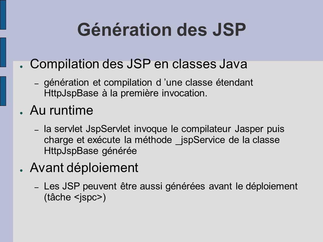 Génération des JSP Compilation des JSP en classes Java – génération et compilation d une classe étendant HttpJspBase à la première invocation. Au runt