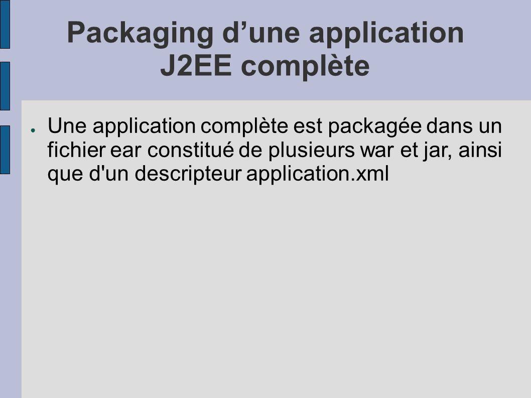 Packaging dune application J2EE complète Une application complète est packagée dans un fichier ear constitué de plusieurs war et jar, ainsi que d un descripteur application.xml
